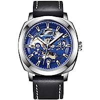 Benyar Automatic Mechanical Skeleton Leather Strap Men's Watch