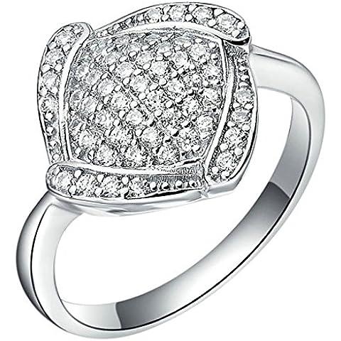Vmculb Joyería Manera Anillo Chapado en Oro Mujer Plata Rectángulo CZ con Circonitas Diamantes Imitación Pavé Anillos de Eternidad