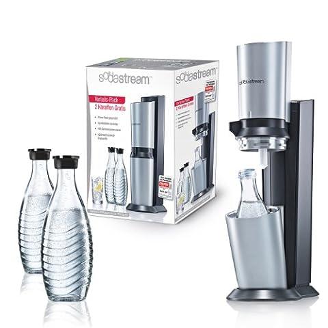 SodaStream Wassersprudler Crystal Megapack (mit 1 x CO2-Zylinder 60L und 3 x 0,6L Glaskaraffen),