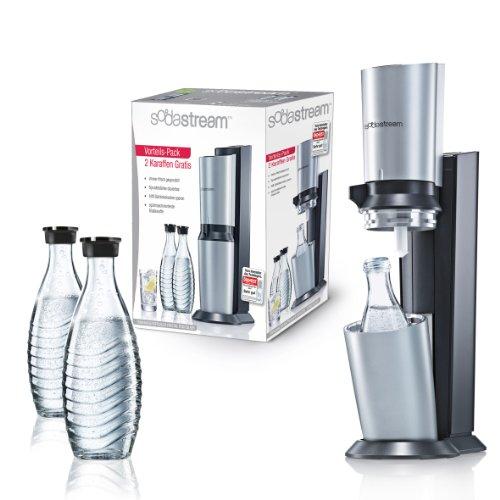 SodaStream Wassersprudler Crystal Megapack (mit 1 x CO2-Zylinder 60L und 3 x 0,6L Glaskaraffen), Titan-silber