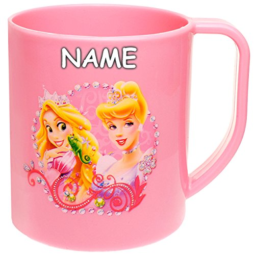 alles-meine.de GmbH Trinkbecher / Henkeltasse -  Disney Princess - Prinzessin  - inkl. Name - 320 ml - aus Kunststoff Plastik - 0,3 Liter - Trinklerntasse - Mädchen Tasse ()