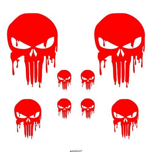 Autodomy Punisher Skull Geschmolzen Aufkleber Paket 8 Stück für Auto oder Motorrad (Neon Rot) (Wolverine-aufkleber)