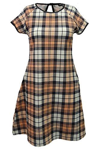 Get The Trend Damen Kleid schwarz schwarz Medium Pfirsich