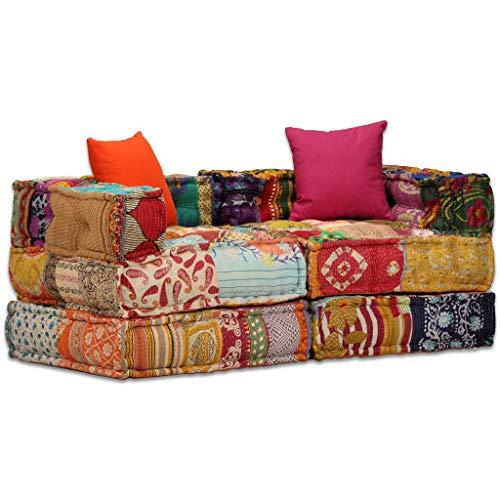 vidaXL Schlafsofa 2-Sitzer Patchwork Stoff 2er Sofa Bettsofa Couch Schlafcouch