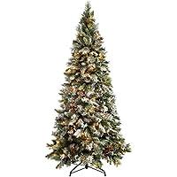 WeRChristmas Pre-Lit Slim Snow Flocked Spruce Multi-Function Christmas Tree, 1.8 m - 6 feet with 300-LED, White