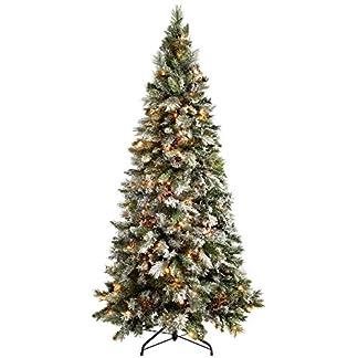 Árbol de Navidad WeRChristmas, abeto fino y con efecto nevado, de 1,8 m, multifuncional, preiluminado con 300 luces LED de color blanco cálido, controlador con 8 configuraciones, ramas con bisagras fáciles de armar, Blanco, 6 feet with 300 LED