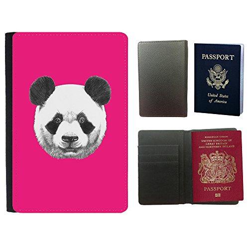 GoGoMobile Muster PU Passdecke Inhaber // Q05300616 Panda Leuchtend rosa // Universal passport leather - Panda Cover Passport