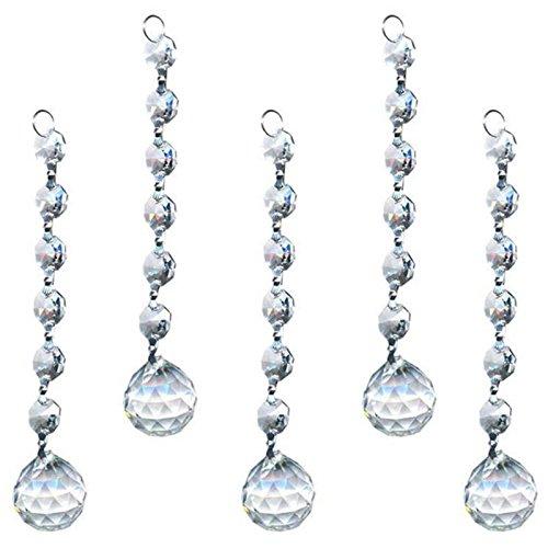 Cristal pour Lustre Prismes Pendentifs House Décoration de Mariage, 5pcs