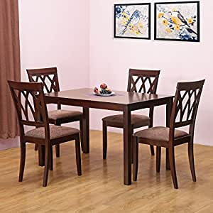 home by Nilkamal Peak Four Seater Dining Table Set (Cappucino ...