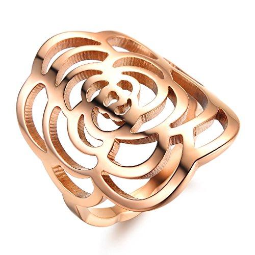 bigshop Damen Ring Kamelie Blüte Rose Gold Edelstahl Trauring für Verlobung Hochzeit Geschenk
