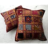 2 Red Embroidered Sequin Patchwork Indian Sari Cushion Covers