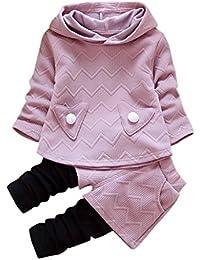 Conjunto de bebé niña otoño invierno Amlaiworld udadera con capucha manga larga camiseta Tops + Pantalones Conjunto de ropa Abrigo