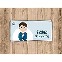 Etiqueta para detalle de Primera Comunión niño Pack 25 udes. Recuerdo de Primera Comunión.