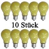 netSells® * 10 Stück Glühlampen gelb * E27 / 25 W * matt * z. B. für Party- u. Biergartenbeleuchtung