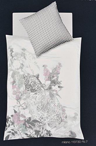 Bettwäsche 135x200 Mako Satin Fleuresse 100% Baumwolle Leopard Grau creme rosa