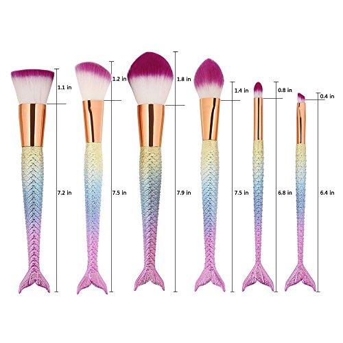 6 Pcs Mermaid Makeup Brush Set Synthetic Kabuki Foundation Blending Blush Eyeliner Face Powder Brush Makeup Brush Kit Beauty Cosmetic Tools (Pink)