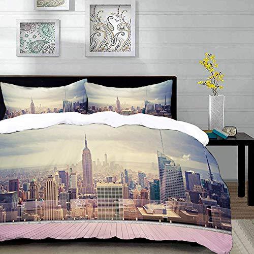 Yaoni Bettwäsche-Set, Mikrofaser,Moderne, New York City USA Landschaft vom Dach Apartment Balkon Foto Bild, braun blau und grün, 1 Bettbezug 220 x 240cm + 2 Kopfkissenbezug 80x80cm (Bettbezug New York City)