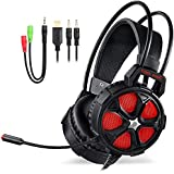 Over Ear Stereo Gaming Headset With Mic LED Light Y Splitter Cable For PS4, PC, Xbox One Controller