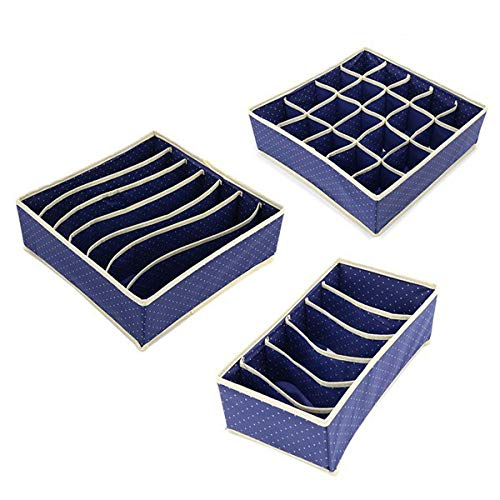 3PCCircle Pattern Non-Woven Storage Boxes Bins for Underwear Towels Socks Ties Home Living Closet Clothes Organizer -