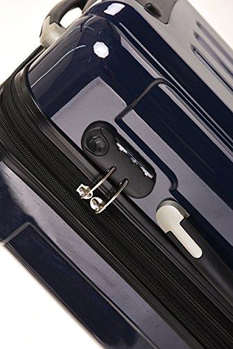 BEIBYE Hartschalen Koffer Trolley Rollkoffer Reisekoffer 4 Zwillingsrollen Polycabonat (Dunkelblau, Kofferset) - 5