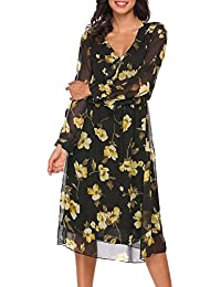 aeab9872e21e Meaneor Women Long Sleeve Floral Print Dresses V Neck Casual Chiffon Maxi  Dress