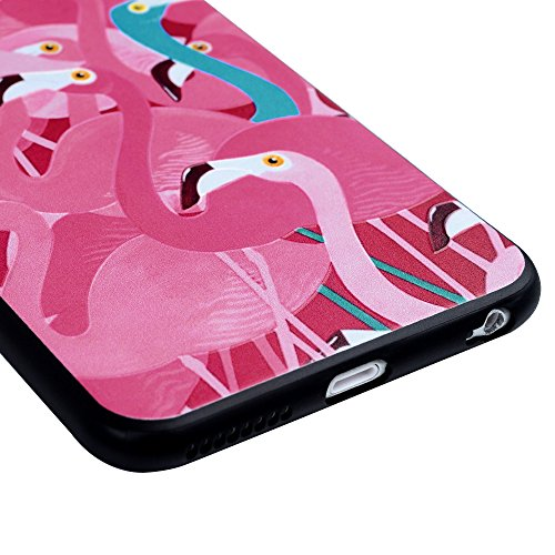 iPhone 6 Plus/6S Plus Silikon Case iPhone 6 Plus/6S Plus Handyhülle YOKIRIN Premium Relief Flexible TPU Silikon Case Schutzhülle Weich Cover Handytasche Etui Handycase Slim Fit Rutschfest Kratzfest Si Flamingo