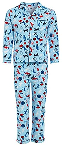 Boys 100% COTTON Flannel Pyjamas Brushed Wincy Buttoned Blue Red FOOTBALL Novelty Carton PJs Warm Collar