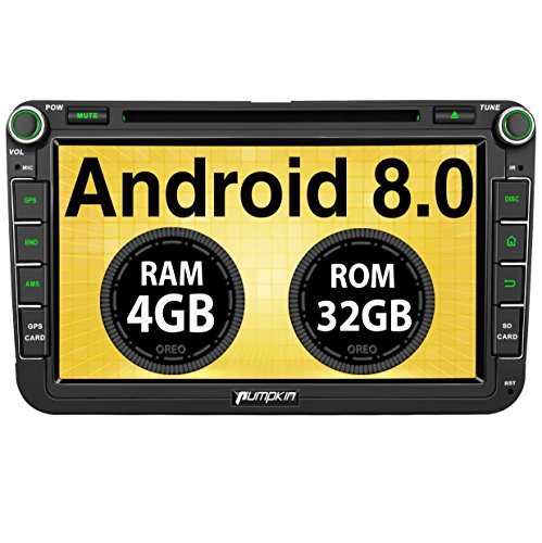 PUMPKIN Android 8.0 Autoradio 4GB DVD Player für VW mit Navi 8 Zoll Bildschirm Unterstützt Bluetooth DAB+ WLAN 4G Android Auto USB MicroSD Subwoofer MirrorLink AV-OUT Fastboot 2 DIN Kabel 4 Dvd