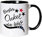 Mister Merchandise Kaffeebecher Tasse Bester Onkel der Welt Bruder Schwanger Baby Schwager Kind Teetasse Becher Weiß-Schwarz