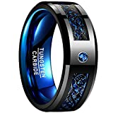 NUNCAD Celtic Dragon Blue Tungsten Carbide Wedding Band Ring for Men 8mm Blue Carbon Fiber Size N½ to Z+3