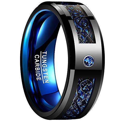 Nuncad Bague en Acier Tungstène, Unisexe Bague Celtique Noir-Bleu 8mm Large, pour Mariage, Mariage, Engagement et Partenariat, Taille 65 (25)