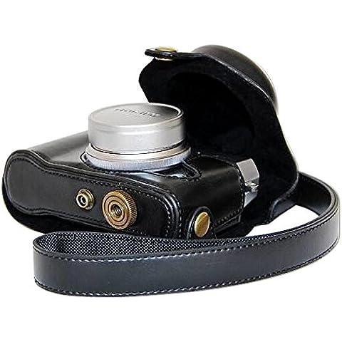 First2savvv XJPT-X30-A01 negro cuerpo completo ajuste preciso de cuero de la PU cámara digital bolsa caso cubierta con correa para Fujifilm X30