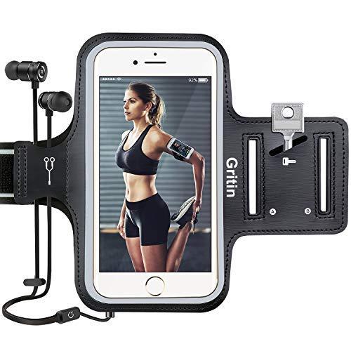 Sportarmband Handy, Gritin Schweißfeste Handytasche fürs Oberarm, mit Schlüsselhalter, Kopfhörerloch und Verlängerungsband - für iPhone X/8/7/6/6s und Handy bis zu 6.5