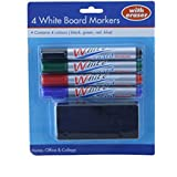 Ardisle 4Color Set pizarra blanca pizarra blanca rotuladores borrado en seco Bullet Tip fácil de limpiar