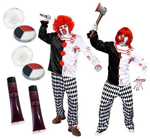 (ILOVEFANCYDRESS Killer Clown Paare KOSTÜM VERKLEIDUNG=DIE PERFEKTE VERKLEIDUNG FÜR Paare AN Halloween ODER Fasching UND Karneval ODER Clown Prank = MIT ROTEN PERÜCKEN-XXLarge-XXLarge)