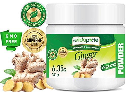 myBioPure ORGANISCHES GINGERPULVER. 100% Pure Natural RAW Glutenfrei, Roh, Non-GMO. SUPER Essen. Für Gesundheit, Backen, Schönheit, Kochen und Nahrungsergänzung. 6,35 oz – 180 gr.