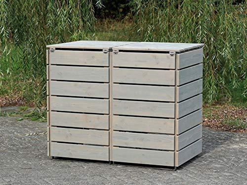 2er Mülltonnenbox / Mülltonnenverkleidung 240 L Holz, Transparent Geölt Grau - 4