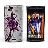 Butterfly Case Handy Schutz Hülle Hard Cover für Sony Ericsson Xperia Arc/Arc S mit Strass Steine Oberschale Backcover Gehäuse Flower Blume Schmetterling Design QJC-371