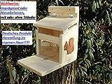 Eichhörnchenfutterhaus- Eichhörnchen-Haus-XXXL-Eichhörnchenhaus-Futterautomat-Futterhaus-Nistkasten-Kobel-Holzschindeldach-Vogelhaus Wahlweise mit oder ohne Ständer