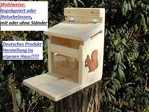 Eichhörnchenfutterhaus- Eichhörnchen-Haus-XXXL-Eichhörnchenhaus-Futterautomat-Futterhaus-Nistkasten-Kobel-Holzschindeldach-Vogelhaus Wahlweise mit oder ohne Ständer, Imprägniert oder Naturbelassen (Futterstation)