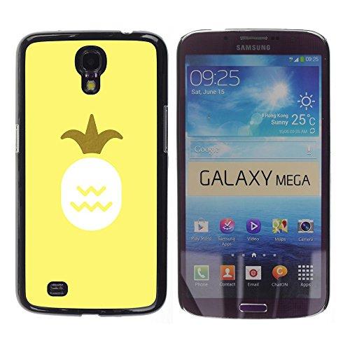 YOYOYO Schwarz Hart Verteidiger Handy Schutz Hülle Bild Etui Case Schale Cover für Samsung Galaxy Mega 6.3 I9200 SGH-i527 - Ananas-König Yellow 420 Unkraut Rauch