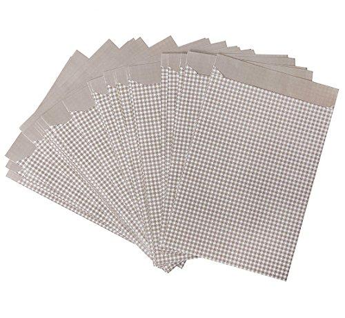Preisvergleich Produktbild 100 Stück Papiertütchen in beige weiß hellbraun kariert; 13 x 18 cm um kleine Geschenke zu verpacken, Gastgeschenktüten, Adventskalendertüten, Scrapbooking, etc.