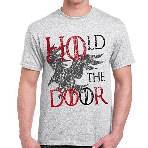 T-Shirt Game Of Thrones Hodor Maglietta Uomo Trono di Spade Stampa Hold The Door CHEMAGLIETTE! ..., Colore: Cenere, Taglia: L