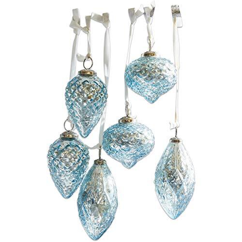 Loberon Weihnachtsschmuck 6er Set Blue, Messing/Glas, H/Ø ca. 10/6 cm, blau