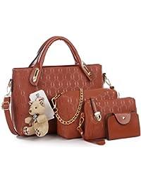 1b7164623a138 Pahajim Damen Handtaschen Handtaschen Leder Frauen Handtaschen Set 4  teiliges Fashion Rucksack Damenhandtasche tasche…