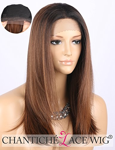 Chantiche Cheap Ombre Brown Lace Front Wig Dark Rooted Medium Length Straight Synthetic Hair Wigs for Women Heat Resistant