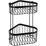 WENKO Classic Plus Black Hoekplank, 2 etages, hoekrek met hoogwaardige roestbescherming, staal, 23,5 x 33 x 18,5 cm, zwart