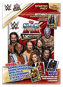 Topps FS0000715 Slam Attax WWE - Juego de Cartas, revistas, Campo de Juego, 4 Cartas coleccionables y una Tarjeta Limitada, Multicolor