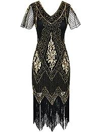 kayamiya Women 1920s Vintage Gatsby Dress Sleeves Inspired Bead Sequin Cocktail Flapper Dress
