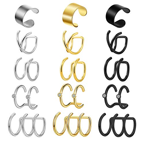 Incaton Edelstahl Ohrringe Ohrstulpe Ohrclips Ohr Fake Piercing Fake Ohrknorpel Helix Piercing Schmuck, Silber/Gold/Schwarz